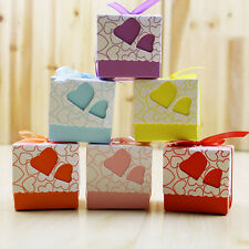 CHEAP!100Pcs Love Heart Candy Boxes Wedding Favor Party Gift Boxes With Ribbon.c
