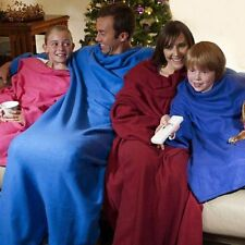 Snuggle Wrap Fleece Blanket With Sleeves Summer Quilt Soft Cool Robe US Stock