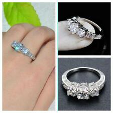 USA -WOMEN Wedding White Gold Filled Ring Size 5 to 9 Sapphire 10K Gift Jewellry