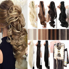 Long Claw Clip on in Ponytail Mega Thick Pony Tail Hair Extensions Mix Brown A56