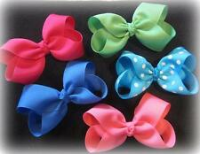 Boutique Hairbows - Lot Set of 10 Bows - Single Layer Hair Bows - 4 Inch Medium