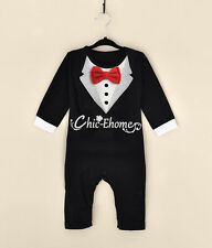Baby Boy Toddler Wedding Christening Tuxedo Rompers Formal Suit Outfit Clothes
