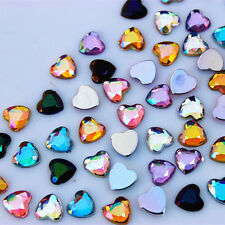500Pcs 6mm  Heart Acrylic Rhinestones Acrylic crystal Flat Back Beads ZZ464