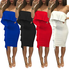 Women's Sexy Close-fitting Off shoulder Falbala Tight Cocktail Party Dress S-XL