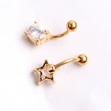 Gold Plated Round/Star Clear CZ Gem Belly Button Ring Navel Bar Piercing