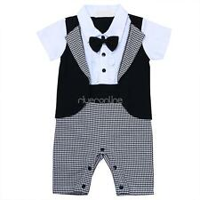 Infant Gentleman Baby Boy Romper Playsuit One-Piece Outfit Set Dress Suit Cotton