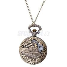 Retro Vintage Bronze Quartz Pendant Chain Necklace Gift Pocket Watch Men Lady