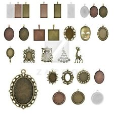 Antique Brass Metal Charm Pendants Supply Jewelry Cabochon Settings 31 Styles