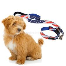 US Flag Dog Pet Walking Leash Lead Nylon Rope Traction Collar Firm Comfortable