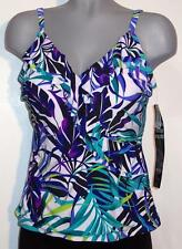 NWT Trimshaper Tankini Top Swimwear Built-In Padded Bust Support Size 10 12 14