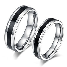 Men Women Black Band Ring Titanium Stainless Steel Jewelry Lover Gift Hot Cool