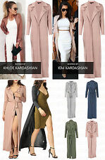 New Women's Ladies Slinky Maxi Long Sleeves Waterfall Belted Duster Coat Jacket