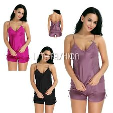Women Sexy Satin Lace Robe Dress Shorts Babydoll Sleepwear Nightwear Pajamas-Set