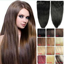 Full Head Straight Weft Clip in Hair Extension Remy Human Hair Extensions 120g