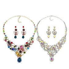 Colorful Alloy Rhinestone Earrings Crystal Pendant Necklace Bridal Jewelry Set