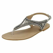 Ladies Leather Collection Casual Flat Toepost Beaded & Sequined Vamp Sandal
