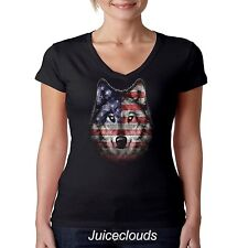 Patriotic V-Neck Shirt Wolf Americana American Flag USA Liquid Blue July JUNIORS