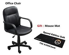 Modern Office Executive Chair PU Leather Computer Desk Hydraulic Black With Gift