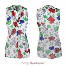 Womens Chiffon Sleeveless Shirt Casual Floral Vest Blouse Ladies Summer Top