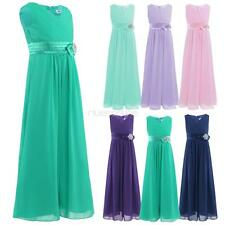 Toddler Kids Girls Chiffon V-neck Flower Dress Wedding Pageant Wedding Party New