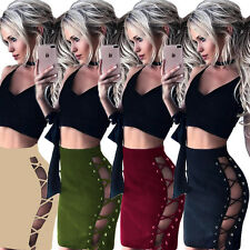 Sexy Womens Bodycon Bandage High Waist Lace Up Pencil Stretch Club Mini Skirt