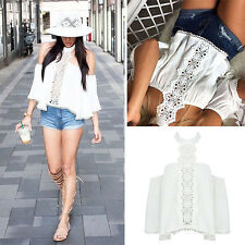 Sexy Women Summer Lace Off-shoulder Casual Blouses Ladies Crop Tops T-Shirt