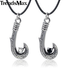 Mens Chain 316L Stainless Steel Silver Pendant Necklace Fish Hook CZ Leather