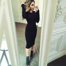 Summer Wear Short Sleeve Solid Color Knee-length Bodycon Dress for Women