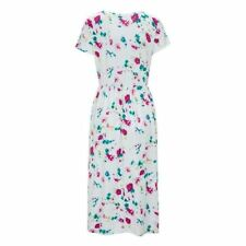 O Neck Printed Short Sleeve Pleated Pattern Casual Mid Calf Dress For Women