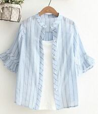Stripe Pattern Half Sleeve Round Collar Ruffle Decorated Shirt For Women
