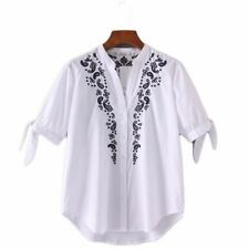 Women V Neck Embroidery Striped Hollow Out Short Sleeve Cuff With Tie Blouse