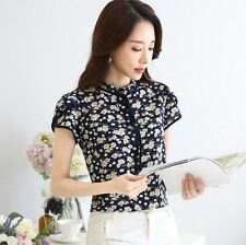 Floral Printed Chiffon Fabric Ruffle Decorated Casual Blouse For Women