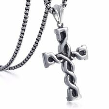 Mens Chain Silver Tone 316L Stainless Steel Knot Box Link Cross Pendant Necklace