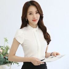 New Arrival Summer Slim Stand Collar Short Sleeved Plus Size Women Blouse