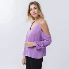 Long Sleeve Off Shoulder Fashionable Solid Color Blouse For Women