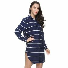Women Blue Color Striped Vintage Turn Down Collar Long Sleeve Long Blouse