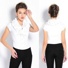 Women Casual Short Sleeve Ruffled Collar Summer White Color Blouse