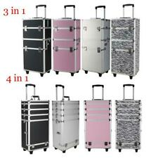 3/4 in1 Rolling Aluminum Makeup Case Cosmetic Train Box Wheeled Storage Lockable