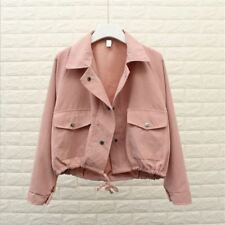 Spring Summer Loose Pocket Casual Cropped Outerwear Jacket For Women