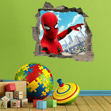 Spiderman in wall Crack Kids Boys Bedroom Vinyl Decal Wall Art Sticker Gift New