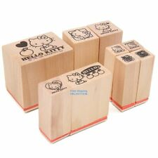 JAPAN SANRIO HELLO KITTY CARTOON WOOD MINI STAMPS SET