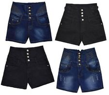 Ladies Womens High Waisted Denim Hotpants Distressed Ripped Shorts Pants