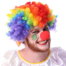 Party Disco Rainbow Afro Clown Hair Football Fan Adult Costume Curly Wig Cool QW