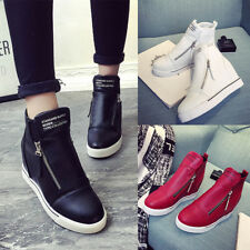 AU New Women Leather High Top Hidden Wedge Heel Casual Flat Sneakers Shoes