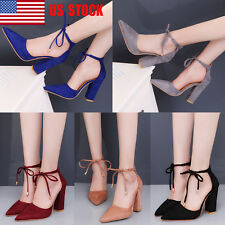 Women Lace Up Strappy Block High Heels Party Formal Pumps Sandals Shoes US 4-9