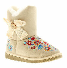 New Younger Girls/Childrens Beige Imitation Suede Boots UK SIZES