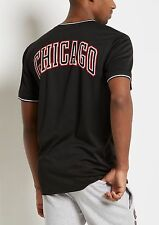 NBA Chicago Bulls V-Neck Mesh Basketball Jersey Tee Top Black (NBA licensed) NWT