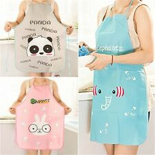 Women Cute Cartoon Waterproof Apron Kitchen Restaurant Cooking Bib Aprons QE
