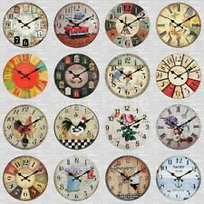 Wall Clock 30cm Wooden Rustic Industrial Vintage Home Shop 12 Hour Time Clock