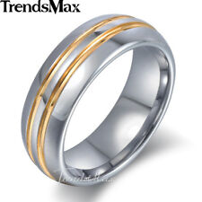 7mm Mens Tungsten Carbide Silver Gold Polished Stripes Sz 8-13 Wedding Band Ring